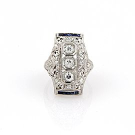 Art Deco 1.15ct Diamond & Sapphire Platinum Long Milgrain Open Filigree Ring