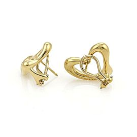 Tiffany & Co. Peretti 18k Yellow Gold Open Heart Post Clip Earrings
