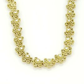 Beautiful 18k Yellow Gold & Diamond Floral Etruscan Design Necklace