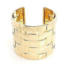 "Italy 18k Yellow Gold 2.75"" Wide Basket Weave Cuff Bracelet"