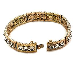 Edwardian 1.80ct Rose Cut Diamonds 14k Two Tone Gold Floral Etched Bracelet