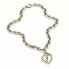 Tiffany & Co. Vintage 925 Sterling 18k Gold Heart Padlock & Key Necklace