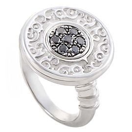 Carrera y Carrera Guitarra 18K White Gold Black Diamond Pave Ring 5.5