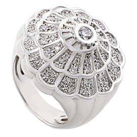 Carrera y Carrera Afrodita 18K White Gold Diamond Pave Shell Ring