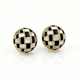 Tiffany & Co. Mother of Pearl & Onyx Inlaid Dome Post Clip Earrings