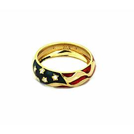 Hidalgo Diamond 18k Yellow Gold Enamel Flag Band Ring