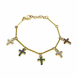 Pomellato GLORY Diamond & Gems 18k Gold 5 Dangle Cross Charms Bracelet