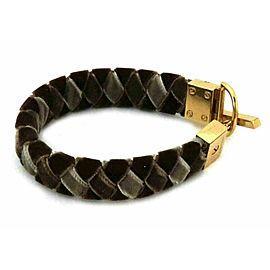 Louis Vuitton Tricolor Velvet Ribbon 17mm Wide Braided Bracelet Gold Metal Clasp