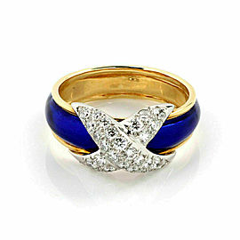 Tiffany & Co. Schlumberger Platinum 18k Gold Pave Diamond Blue Enamel Ring