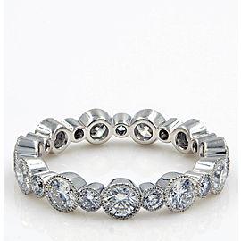 Rachel Koen 1.40cts Platinum Diamond Round Cut Eternity Band Size 6.5