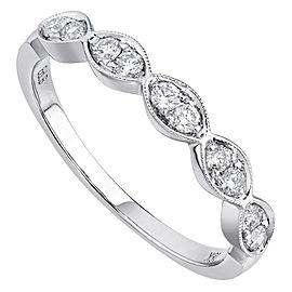 Rachel Koen 18K White Gold 0.25cts Genuine Diamond Pave Ladies Ring Size 6.5