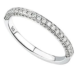 18K White Gold 0.30cts Genuine Diamond Pave Ladies Ring Size 6.5
