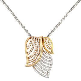 Rachel Koen 18k White Yellow Rose Gold Diamonds Pendant Necklace 0.67 Cttw