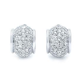 Swarovski Silver Plated Crystal Huggie Clip Earrings
