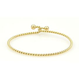 Tiffany & Co. 18k Yellow Gold Double Ball Hook Wire Bangle Bracelet