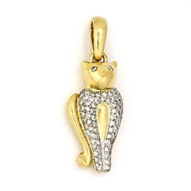 Chimento 1.00ct Diamond 18k Two Tone Gold Cat Pendant