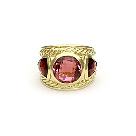 David Yurman Pink Tourmaline & Garnet 18k Yellow Gold Dome Band Ring