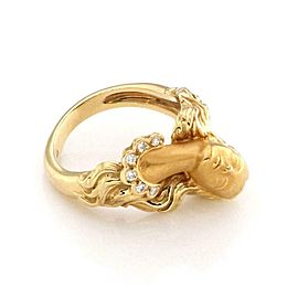 Carrera y Carrera Diamond 18k Yellow Gold Woman Head Ring Size 5