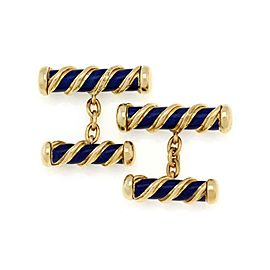 Tiffany & Co. Schlumberger 18k Yellow Gold Enamel Fancy Post Cufflinks