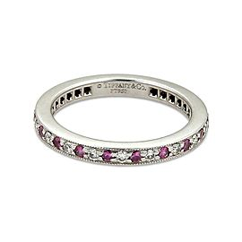 Tiffany & Co. Diamond Pink Sapphire Platinum Milgrain Eternity Band Ring Size 4