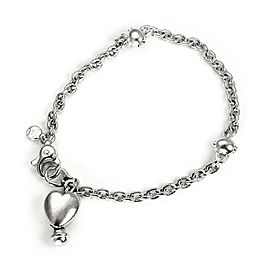 Tiffany & Co. Vintage Sterling Silver Heart Charm Chain Bracelet