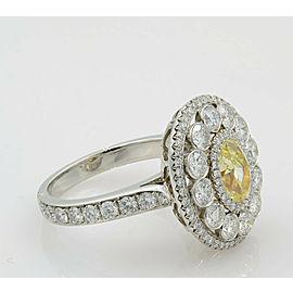 Light Fancy Yellow Oval Diamond Engagement Ring Handmade Platinum 18KY Size 6.5
