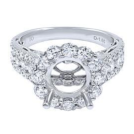 18K Yellow Gold Round Diamond Halo Engagement Ring Setting 1.65cttw Size 6.5