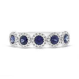 14k White Gold 0.20cttw Diamonds 0.70cttw Blue Sapphire Ring SZ7