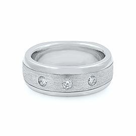 14k White Gold 0.28 Cttw Natural Diamond Three Stone Wedding Band Size 9