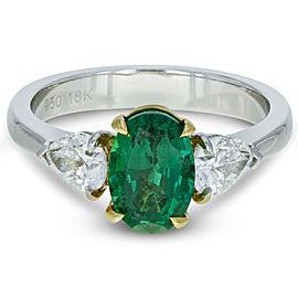 Rachel Koen 3 Stone Green Emerald Diamond Engagement Ring Platinum Yellow Gold