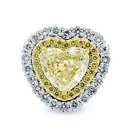 Rachel Koen Fancy Yellow Heart Diamond Platinum Cluster 7.26cts Ring Size 6.5