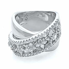 Rachel Koen 18K White Gold H VS1 1.00cttw Diamond Layered Wide Band Ring Size 6