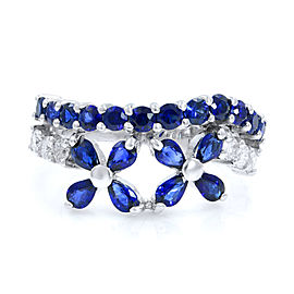 Rachel Koen Sapphire Diamond Floral Motif Ladies Ring 18K White Gold 2.44cts SZ8