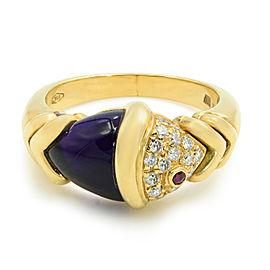 Bulgari Yellow Gold Naturalia Fish Ring Amethyst Diamonds Size 6.75