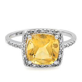 Rachel Koen 14K White Gold Citrine Diamond 0.15cts Ring Size 7