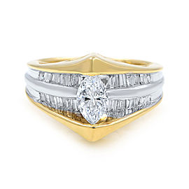 14K Yellow Gold Marquise Cut Diamond Accented Ladies Engagement Ring 0.82 Cttw