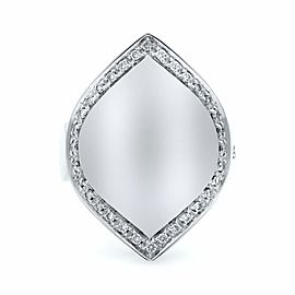 Salvini 18k White Gold Diamond Cocktail Signet Ladies Ring 0.60 Cttw Size 8