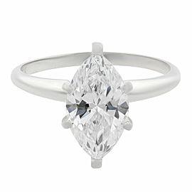 Rachel Koen 14K White Gold Marquise Diamond Solitaire Engagement Ring 1.61ct