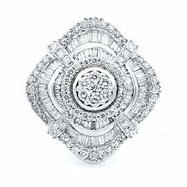 Rachel Koen 10K White Gold Round and Baguette Diamond Cocktail Ring 1.85ct SZ 8