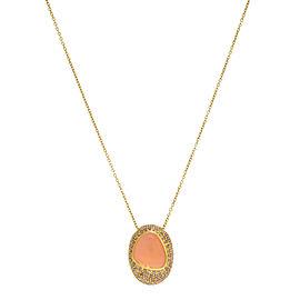 Roberto Coin 18k Yellow Gold 1.60 Cttw Diamonds Moonstone Pendant Necklace