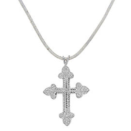 Rachel Koen Diamond Cross Pendant Women's Necklace in 18K White Gold 0.22cts
