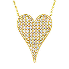 14K Yellow Gold Pave Diamond 0.83cttw Heart Pendant 17 Inch Necklace