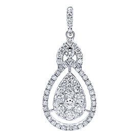 Rachel Koen Diamond Drop Pendant Pear Shape Halo Cluster Style 1.05ct White Gold