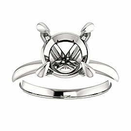 Rachel Koen 14K White Gold Round Cut Solitaire Engagement Ring Mounting Size 6.5
