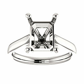 Rachel koen 14K White Gold Emerald Cut Engagement Ring Mounting Size 6.5