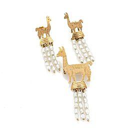 Handmade 18k Yellow Gold & Pearls Llama Dangle Earrings & Brooch Set