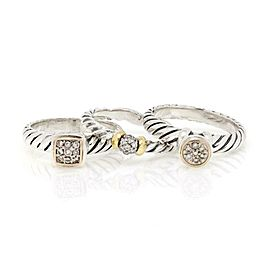 David Yurman Diamond 925 Silver 18k Gold Set of 3 Cable Rings Size 7