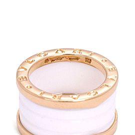Bvlgari Bulgari B Zero-1 18k Pink Gold White Ceramic 12mm Band Ring Size 49