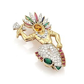 Estate 1.45ct Diamond & Gems Platinum 18k Yellow Gold Native Indian Brooch