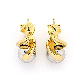 Marina B 18k Yellow Gold Two Tone Swirl Bead Style Illusion Style Earrings